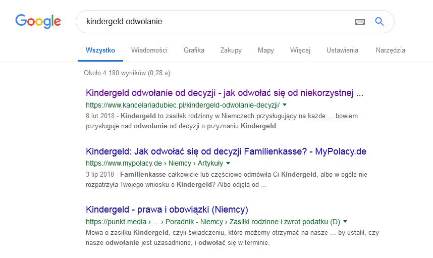 Wyniki Google - KancelariaDubiec.pl